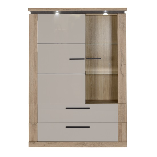 Celestine Display Cabinet In Oak And Pebble Grey With LED_2