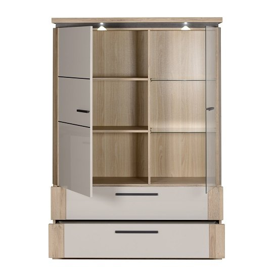 Celestine Display Cabinet In Oak And Pebble Grey With LED_3