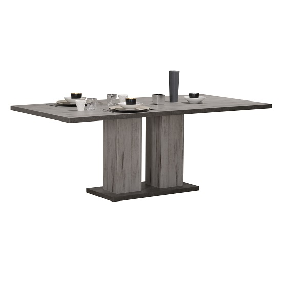 Celestine Extending Dining Table In Dark Concrete Finish
