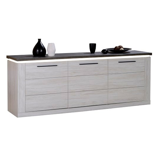 Celestine Wooden Sideboard In Oak And Dark Concrete With LED