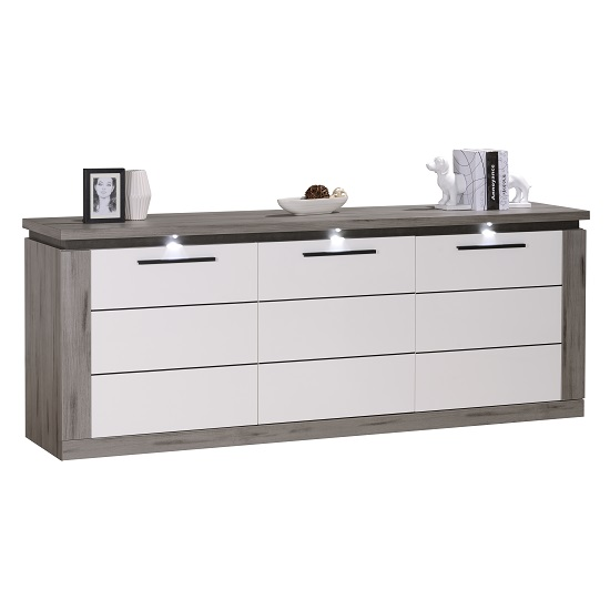 Celestine Sideboard In White Gloss And Dark Concrete With LED