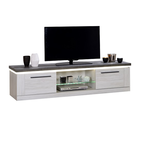 Celestine Wooden TV Stand In Oak And Dark Concrete With LED
