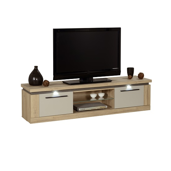 Celestine Wooden TV Stand In Oak And Pebble Grey With LED