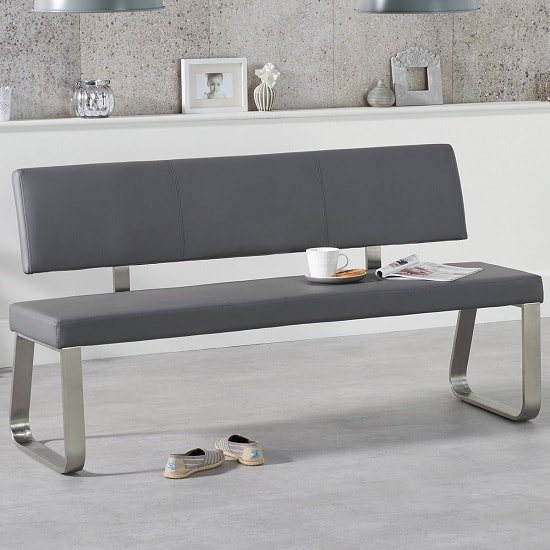 Celina Large Dining Bench In Grey Faux Leather_1