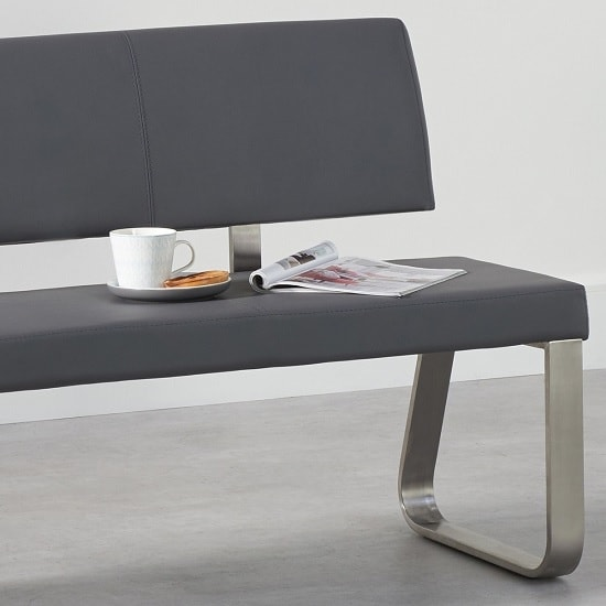 Celina Large Dining Bench In Grey Faux Leather_2