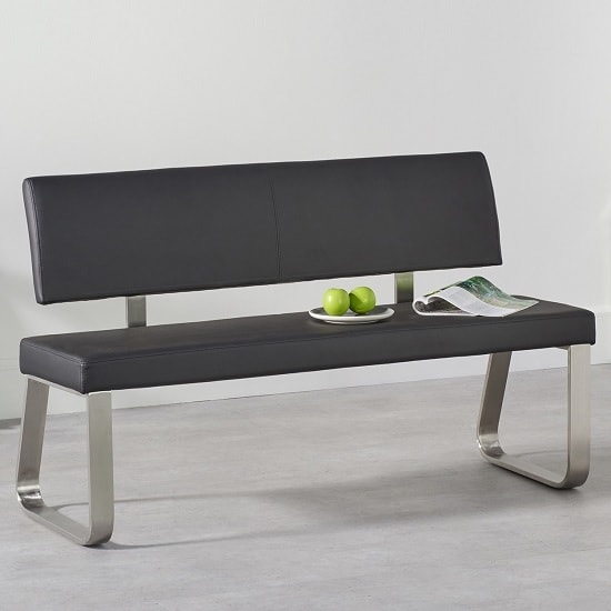 Celina Medium Dining Bench In Black Faux Leather_1