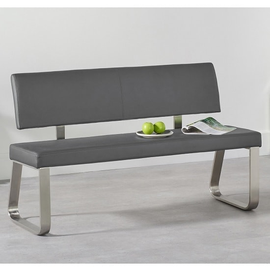 Celina Medium Dining Bench In Grey Faux Leather_1