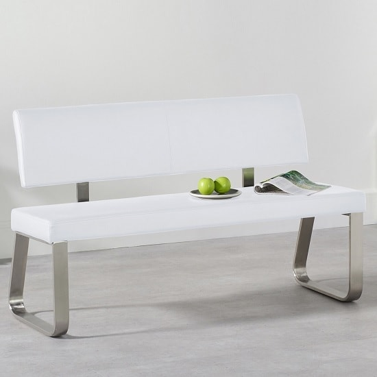 Celina Medium Dining Bench In White Faux Leather