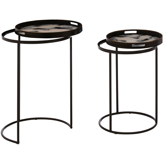 Celina Set Of 2 Marble Effect Nesting Tables