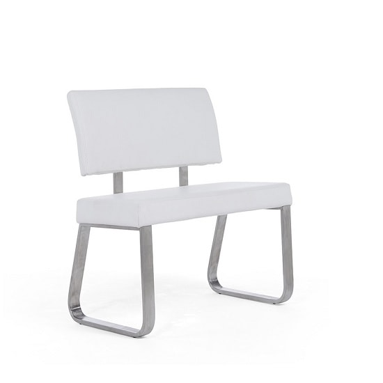 Celina Small Dining Bench In White Faux Leather 34524