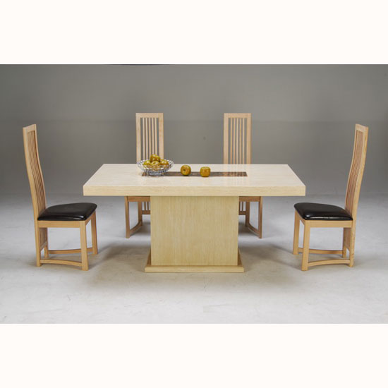 Celine Cream And Cocoa Brown Marble Dining Table With 4 Chairs