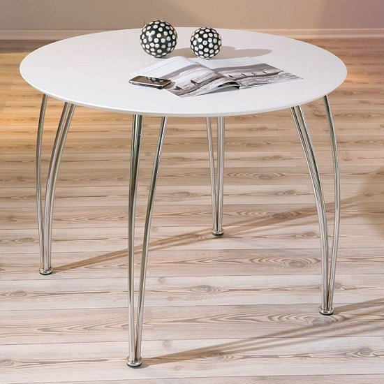 Cellini Dining Table Round In White Gloss With Chrome Legs