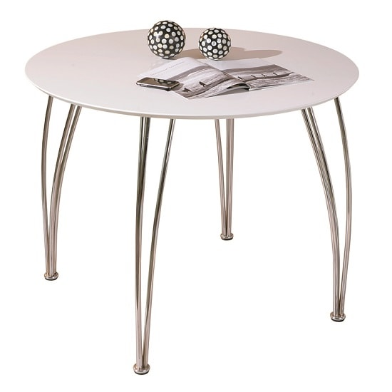 Cellini Dining Table Round In White Gloss With Chrome Legs_2