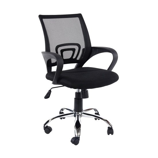 Cello Black Mesh Back Office Chair With Black Fabric Seat