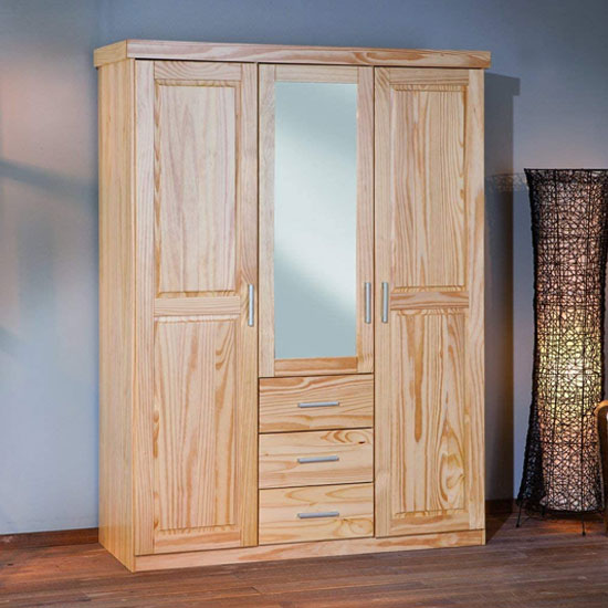 Celso Wooden Wardrobe In Natural Pine With 3 Doors And 3 Drawers