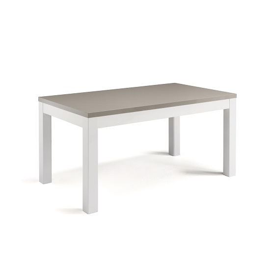 Celtic Dining Table Rectangular In White And Grey High Gloss