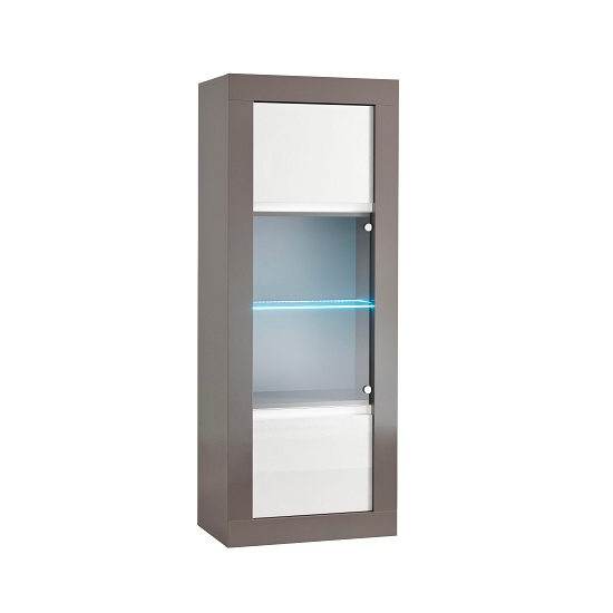 Celtic Glass Display Cabinet In Grey And White Gloss And LED