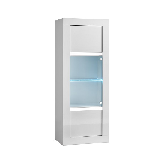 Celtic Glass Display Cabinet In White High Gloss And LED