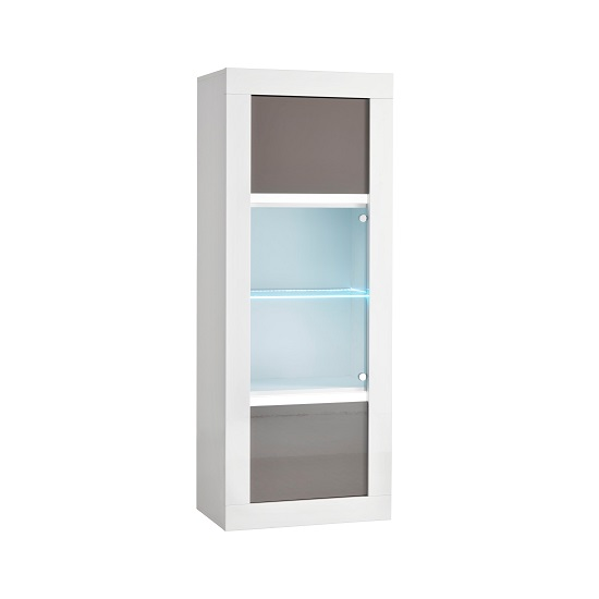 Celtic Glass Display Cabinet In White And Grey Gloss With LED