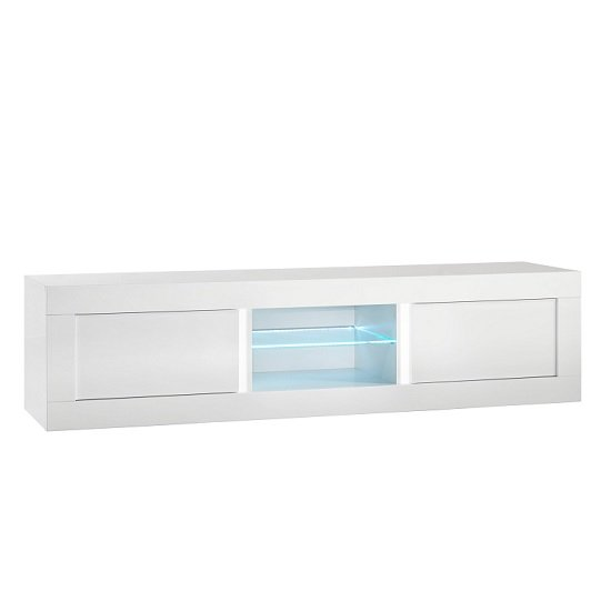 Celtic TV Stand Large In White High Gloss With LED Lighting