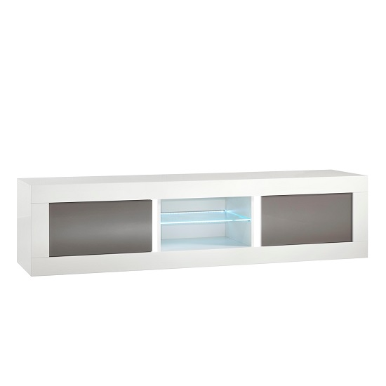Celtic TV Stand Large In White And Grey Gloss With LED Lighting
