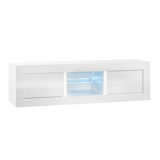 Celtic TV Stand Medium In White High Gloss With LED Lighting