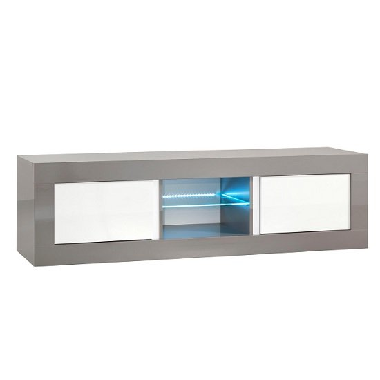 Celtic TV Stand Medium In Grey And White High Gloss With LED