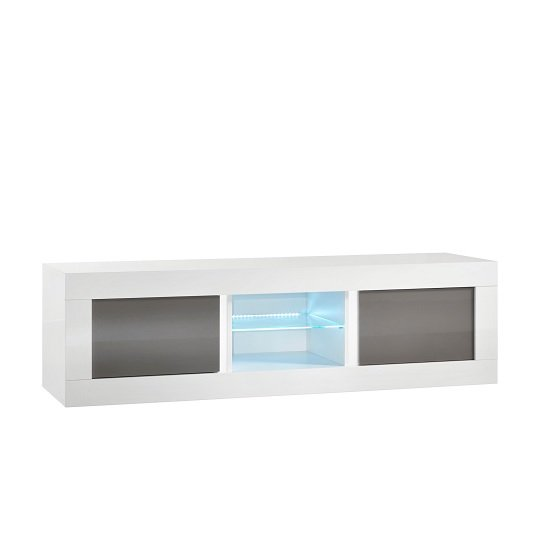 Celtic TV Stand Medium In White And Grey High Gloss With LED