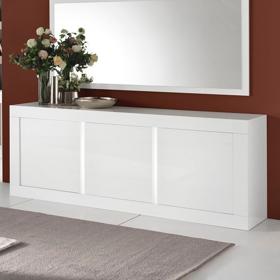 Celtic Modern Sideboard In White High Gloss With Lighting