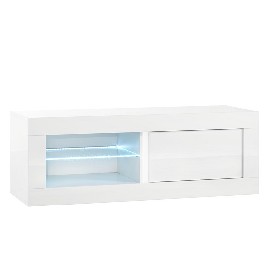 Celtic TV Stand Small In White High Gloss With LED Lighting