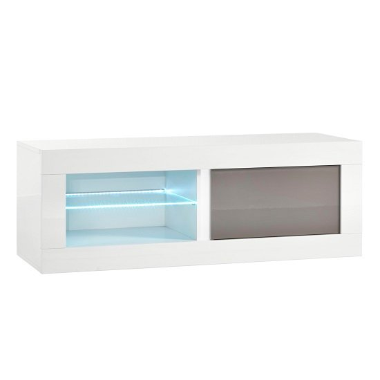 Celtic TV Stand Small In White And Grey High Gloss With LED