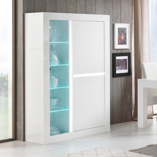 Celtic Glass Display Cabinet Wide In White High Gloss And LED