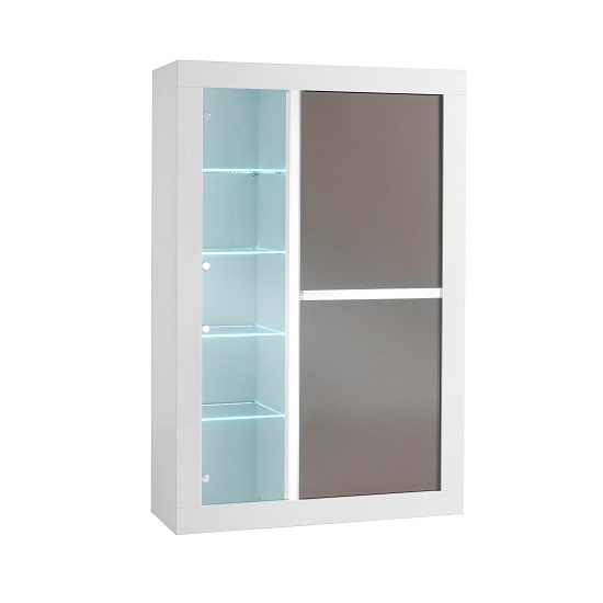 Celtic Display Cabinet Wide In White And Grey Gloss And LED