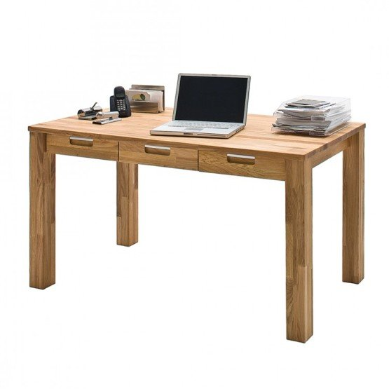 Read more about Cento 1 computer desk in solid core beech with 3 drawers