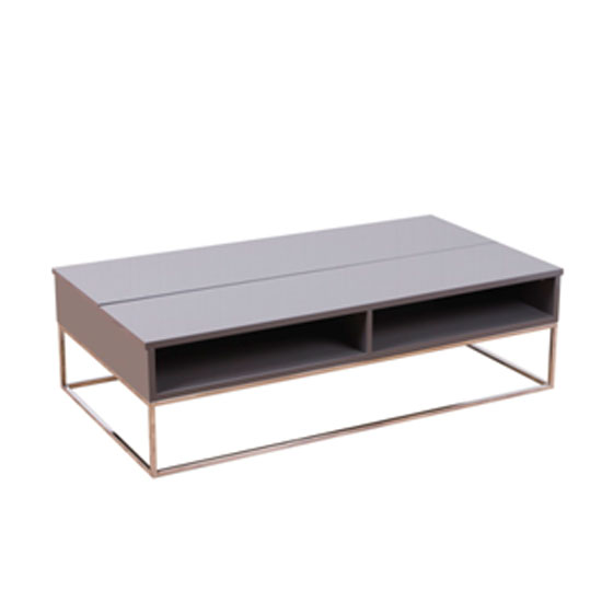 Centro Taupe High Gloss Motion Coffee Table 12207 Furniture