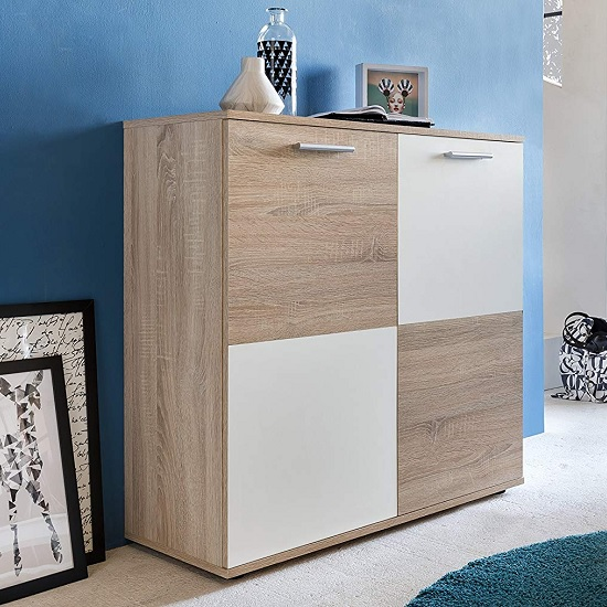 Centro Shoe Storage Cabinet In Sawn Oak And White With 2 Doors_1