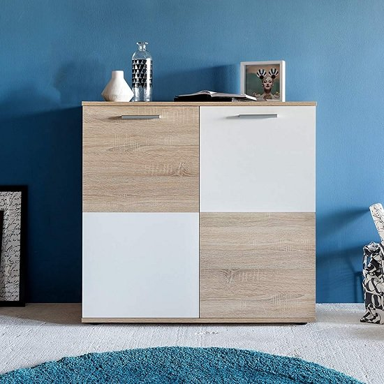 Centro Shoe Storage Cabinet In Sawn Oak And White With 2 Doors_4