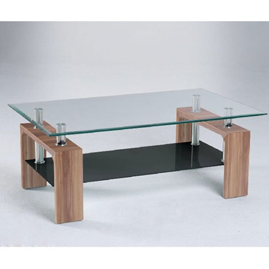 Modern Glass Coffee Table With Black Undershelf And Walnut
