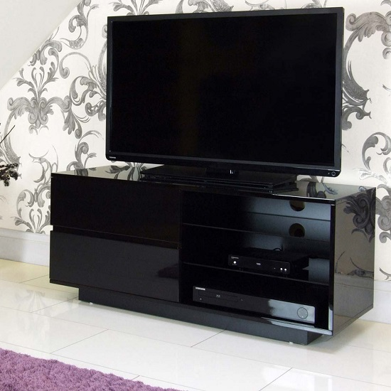 Century TV Stand In Black High Gloss With Two Drawers