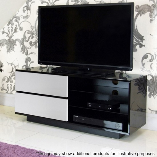 Century TV Stand In Black High Gloss With White Gloss Drawers