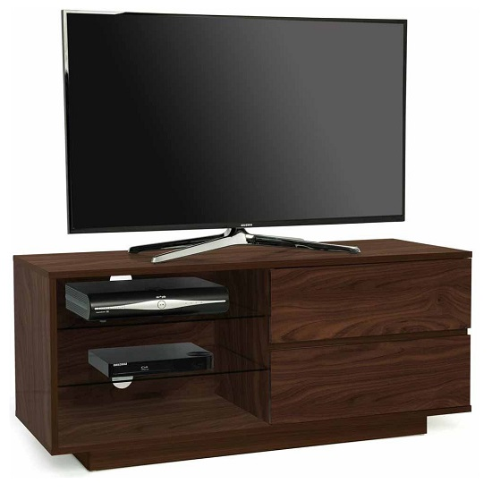 Century TV Stand In Walnut Finish With Two Drawers