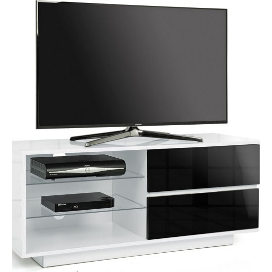 Century TV Stand In White High Gloss With Black Gloss Drawers_1