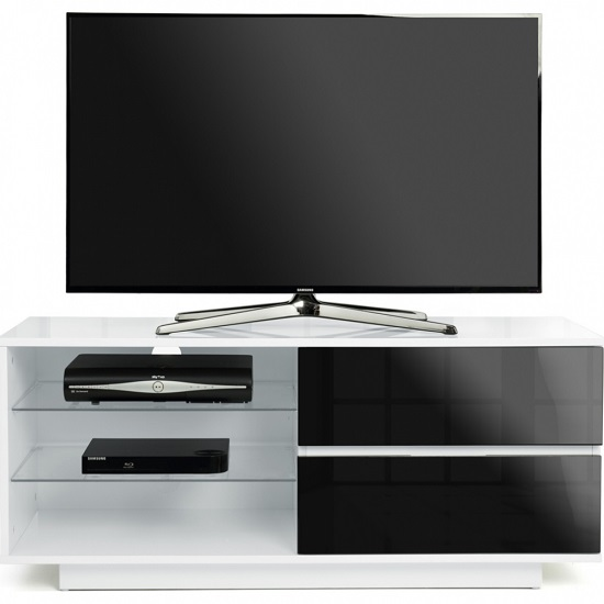 Century TV Stand In White High Gloss With Black Gloss Drawers_2