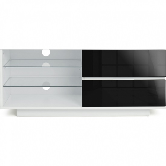 Century TV Stand In White High Gloss With Black Gloss Drawers_4