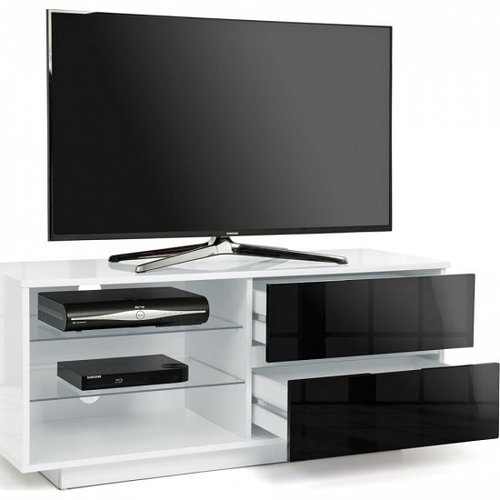 Century TV Stand In White High Gloss With Black Gloss Drawers_3