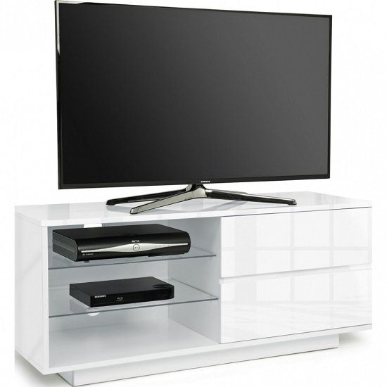 Century TV Stand In White High Gloss With Two Drawers