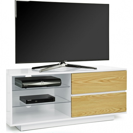 Century TV Stand In White High Gloss With Oak Gloss Drawers