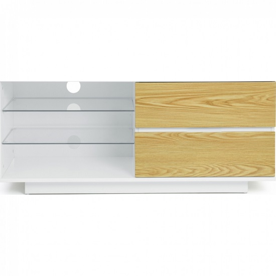 Century TV Stand In White High Gloss With Oak Gloss Drawers_4