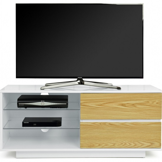 Century TV Stand In White High Gloss With Oak Gloss Drawers_3