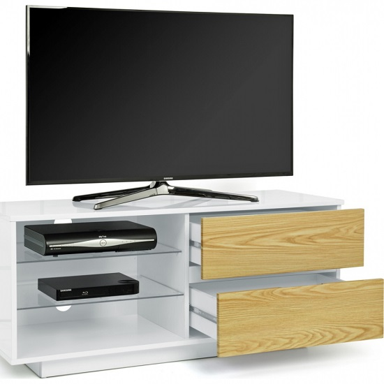 Century TV Stand In White High Gloss With Oak Gloss Drawers_2